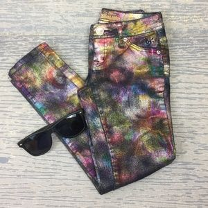 Justice multi colored spray paint design jeans